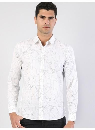Colin's Modern Fit Shirt Neck Erkek Beyaz Uzun Kol Gömlek Beyaz